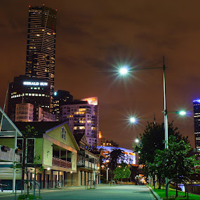 Melbourne by Adam Visscher - City,  Street & Park  Street Scenes ( melbourne city street river, night, lights )