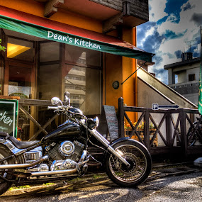 Break Time by Bill MacLachlan - Transportation Motorcycles ( yamaha, japan, bakery, hdr, motorcycle, cafe, chopper, okinawa, custom )