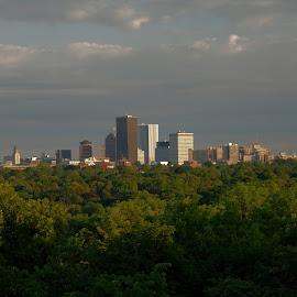 Rochester Sunrise by Cal Brown - City,  Street & Park  Skylines ( skyline, upstate, summer, western, new york, sunrise, cityscape, rochester, city )