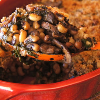 Black-Eyed Pea Spinach and Mushroom Gratin