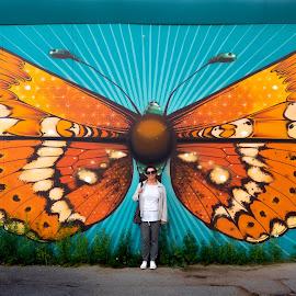 Butterfly by Boštjan Rakovec - City,  Street & Park  Street Scenes ( kopenhagen, 2016, danska, grafit )