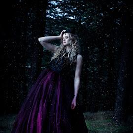 Dark Queen by Nigel Hawkins - People Portraits of Women ( fantasy, model, blonde, girl, queen, snow, dark, forest )