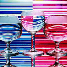Three glasses by Peter Salmon - Artistic Objects Glass ( colour, glasses, glass, lines, light )