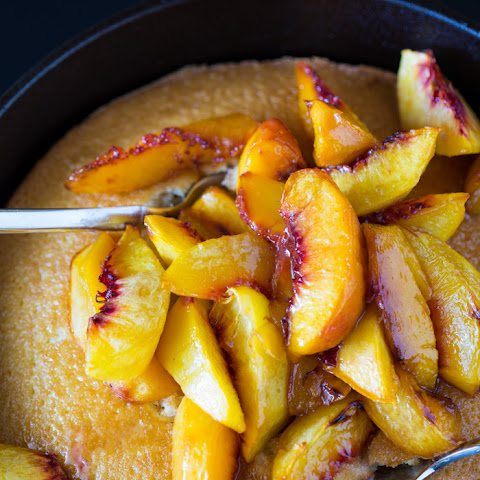 Roasted Peach Skillet Cake
