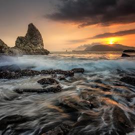 Motion and Splash by Mulyadi AM - Landscapes Sunsets & Sunrises ( sunset, beach, seascape, rocks )