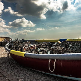 cloudy boat by Tavi Ionescu - Transportation Boats ( clouds, blue sky, hdr, summer, cloudy, transportation, boat, united kingdom,  )