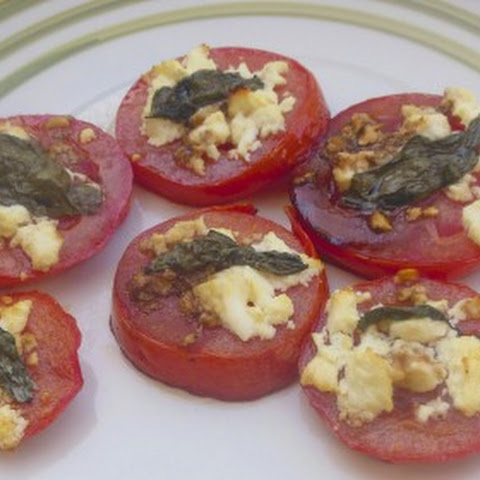 Baked Tomatoes with Feta, Fresh Basil and Olive Oil