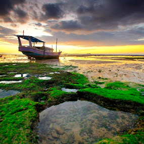 Low Tide Of kelapa Lima by Aris Winahyu BR - Landscapes Waterscapes ( waterscape, sunset, beach, boat )