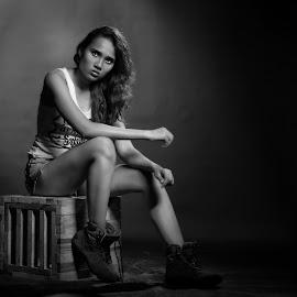 B & W by Qybie Fixu Tan'z - People Portraits of Women ( pose, model, black and white, mood, bw )