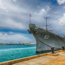 USS Missouri (BB-63) by Bill Tiepelman - Transportation Boats ( uss missouri, bb-63, navy, boat, pearl harbor, battleship, hawaii )