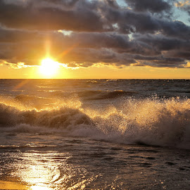 Wind Blew The Sun Down 3 by Terry Saxby - Landscapes Sunsets & Sunrises ( water, canada, terry, huron, sunset, goderich, ontario, lake, saxby, nancy )