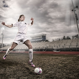 Getting Ready by Michael Huber - Sports & Fitness Soccer/Association football ( play, gritty, action, sports, portrait, athlete, soccer )