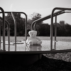 by Tera Moseley - Artistic Objects Toys ( merry go round, bear, stuffed animals, playground, toy, black and white )
