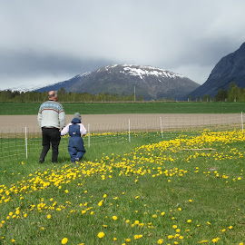 Young and old, sharing wisdom by Bodil Ovesen - People Family ( love, grandpa, generations, wisdom, flowers )