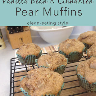 Vanilla Bean & Cinnamon Pear Muffins {Clean-Eating Style}