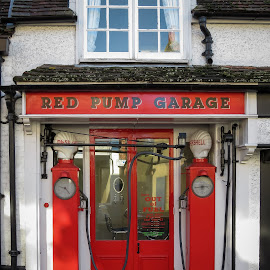 Red Pump Garage by Mark Thompson - Buildings & Architecture Other Exteriors ( out of fuel, old, red, petrol, garage, pumps )