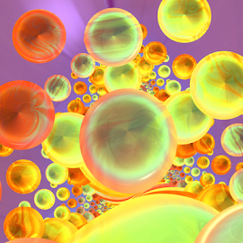 To blow bubbles by Cassy 67 - Illustration Abstract & Patterns ( ball, colorful, wallpaper, bubbles, balloon, digital, bubble, colourful, fractal art, digital art, fractal, fractals, bright colors )
