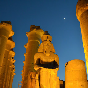 Ramses II prevails by Mica Parada Larrosa - Buildings & Architecture Statues & Monuments ( temple, luxor, moon, karnak, dusk, egypt, ramses )