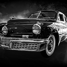 '48 Tucker by JEFFREY LORBER - Black & White Objects & Still Life ( san francisco academy, lorberphoto, rust 'n chrome, tucker, jeffrey lorber, car photo )