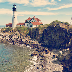 Portland Head Light by Dayton Brown - Landscapes Travel ( water, portland, maine, lighthouse, beach )