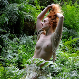 Nymph in Thrall by DJ Cockburn - Nudes & Boudoir Artistic Nude ( skirt, natural light, nude, topless, nature, woman, forest, redhead, ivory flame, standing, portrait )