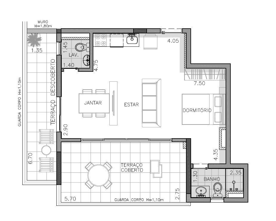 Planta 1º andar (Final 7) - 70 m²