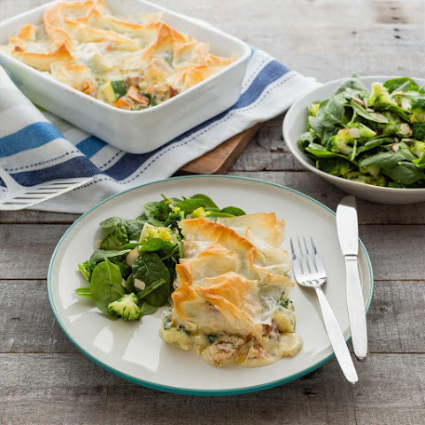 Creamy Filo Pot Pies with Warm Almond Broccoli Salad