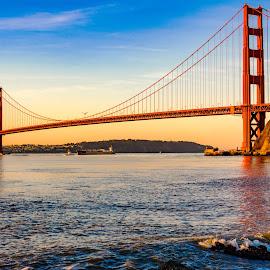 Golden Gate Bridge with Coast Guard and large ship by John Rourke - Buildings & Architecture Bridges & Suspended Structures ( marin county, fort baker, 2017, ca, golden gate bridge, san francisco bay, california, landscape, usa, san francisco, horseshoe bay )