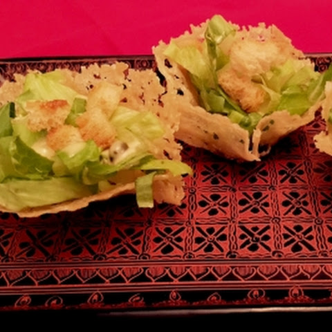 Mini Vegetarian Caesar Salad Parmesan Cups