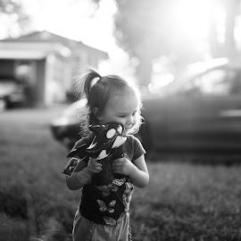 Hug Your Bubble Gun by Nikki Hedden - Babies & Children Children Candids ( black and white, outdoors, bubbles, children, whale )