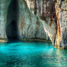 Blue Caves by Stephen Hall - Landscapes Caves & Formations ( water, zante, caves, zakynthos, blue caves )