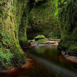 The Devils Pulpit by Charlie Davidson - Landscapes Caves & Formations ( scotland, stream, cliffs, gorge, green, scottish, long exposure, river )