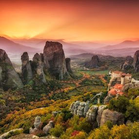 Meteora holy rocks by George Papapostolou - Landscapes Mountains & Hills ( mountains, meteora, sunset, monastery, rocks, landmark, travel,  )