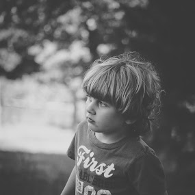 Curious by Annamarie Dearr - Babies & Children Children Candids ( black and white, emotional, boys, children, candid, photography )