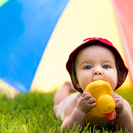 Baby and duck by Angelle Holmes - Babies & Children Babies ( duck, fun, baby, cute, sun, KidsOfSummer )
