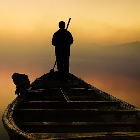 Long way to go by XeeShan Ch - People Fine Art ( pakistan, fog, xeeshan, soon valley, boat, morning, alone, uchali lake, mist )