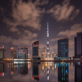 Dubai Night  by Walid Ahmad - City,  Street & Park  Night ( night photography, dubai, uae, cityscape, burj khalifa, nightscape )