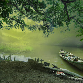 by Amril Nuryan - Transportation Boats ( wooden, fog, green, boat, morning, misty, river, myst )