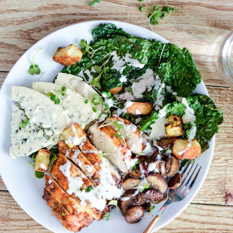Charred Kale Caesar Salad with Honey Chipotle Chicken