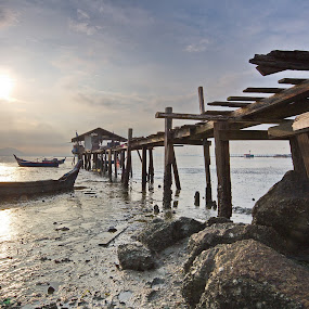 Sunken Boat over Morning Sun  by Danny Tan - Buildings & Architecture Bridges & Suspended Structures
