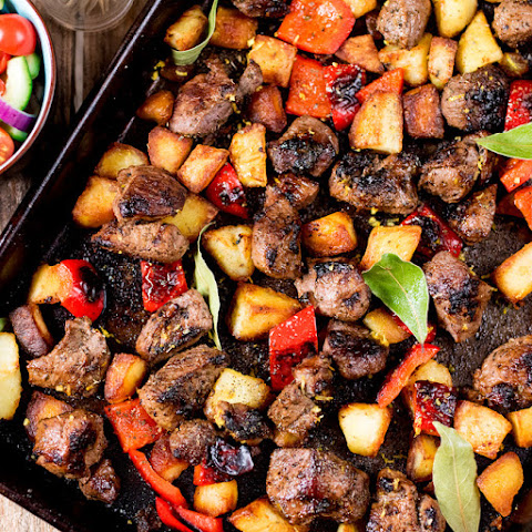 Marinated Greek Lamb with Lemon Roast Potatoes