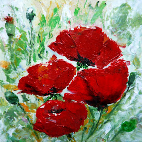 Beautiful And Delicate by Jasna Dragun - Painting All Painting ( still life, acrylic, poppies, flowers, painting, floral, artwork )