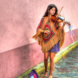 Beautiful Street Musician by John Larson - City,  Street & Park  Street Scenes ( violin, woman, street, beauty, wall )