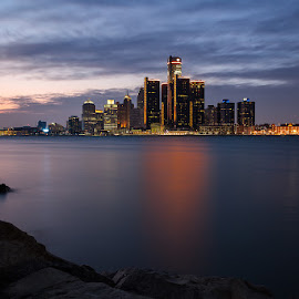Windsor/Detroit International Riverfront by Ray Akey - Landscapes Waterscapes ( windsor, skyline, heart, canada, colorful, twilight, international, horizon, ontario, usa, placid, michigan, tranquil, colourful, sunset, buildings, detroit, river )