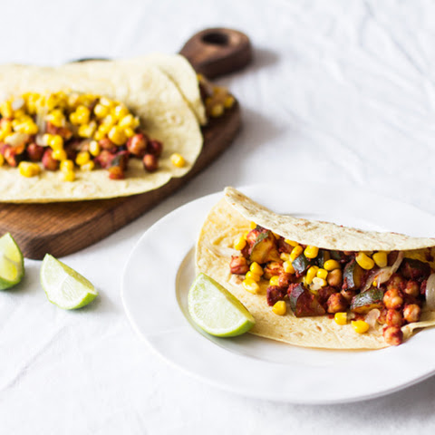Barbecue Zucchini and Chickpea Tacos (gluten free with 100% corn tortillas)