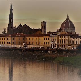 Duomo from the Arno by Jason C Robinson - City,  Street & Park  Skylines ( duomo, skyline, florence, italy, arno )