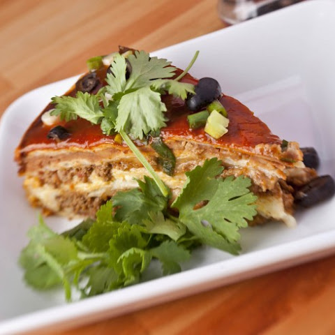 Slow Cooker Layered Enchilada Casserole