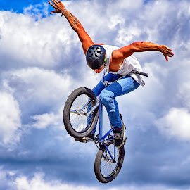 I Believe I Can Fly ! by Marco Bertamé - Sports & Fitness Other Sports ( flying, hands-free, wheels, cloud, contest, air, high, dow, bicycle, jump )