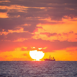 Sailing into the Sun by Jay Stout - Landscapes Sunsets & Sunrises
