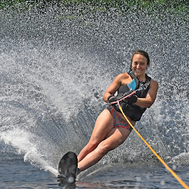 Wall of water by Steven Liffmann - Sports & Fitness Watersports ( girl, splash, woman, slolam, one ski, action, waterski )